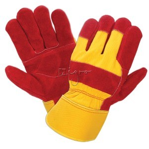 Red leather work gloves