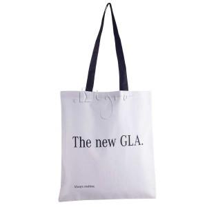 White shoulder bag with black handles