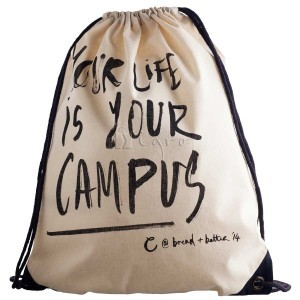 Customize this cotton drawstring bag with your company logo