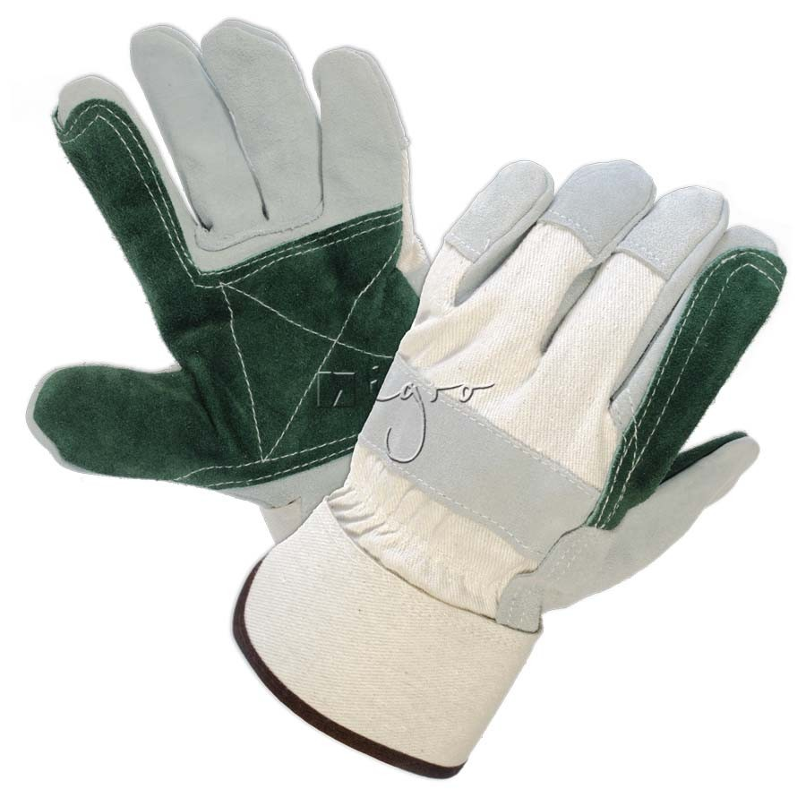 Leather work gloves with green double layer palms