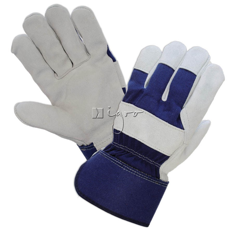 Blue leather working gloves