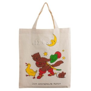 small cotton totes: print Puss in Boots