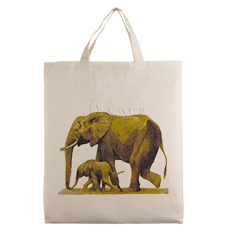Small cotton tote with wild life design Elephant