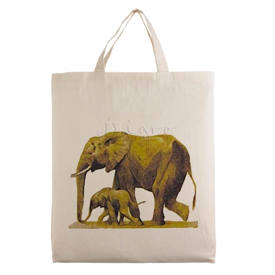 Kleine Baumwolltasche Motiv Elefant