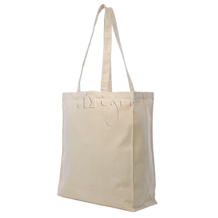 Canvas shopping bag with gusset and long handles