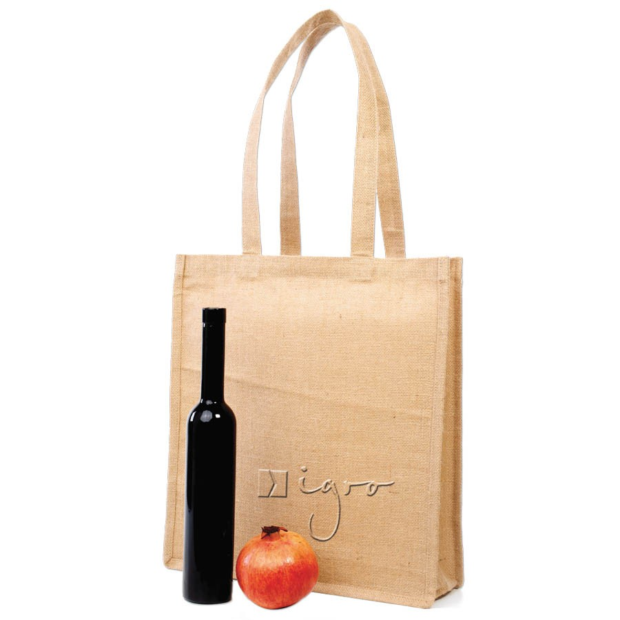 Spacious jute shopper with long handles and side gussets