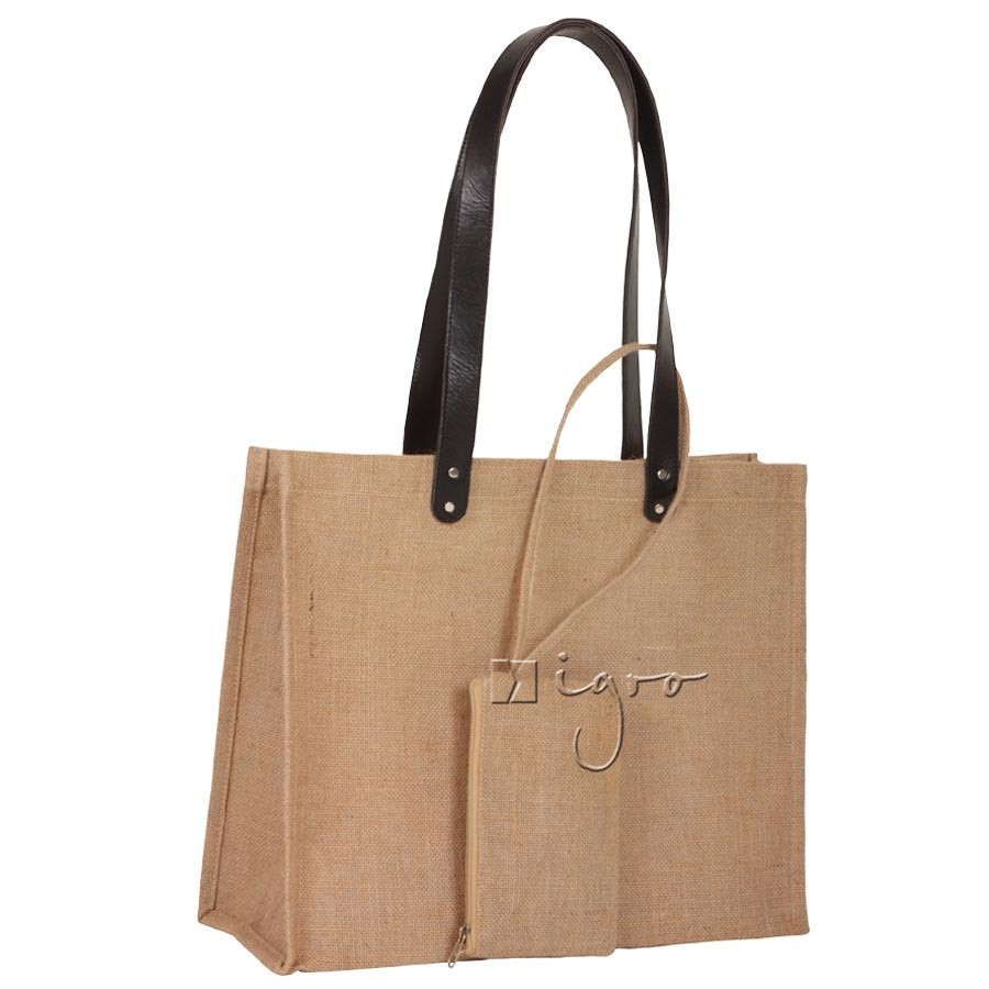 Jute carry bag with long leather handles and theft protected purse
