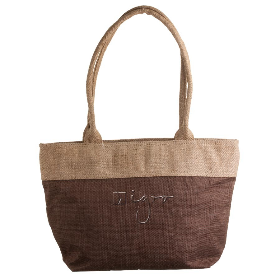 Jute shopping bag with long handles
