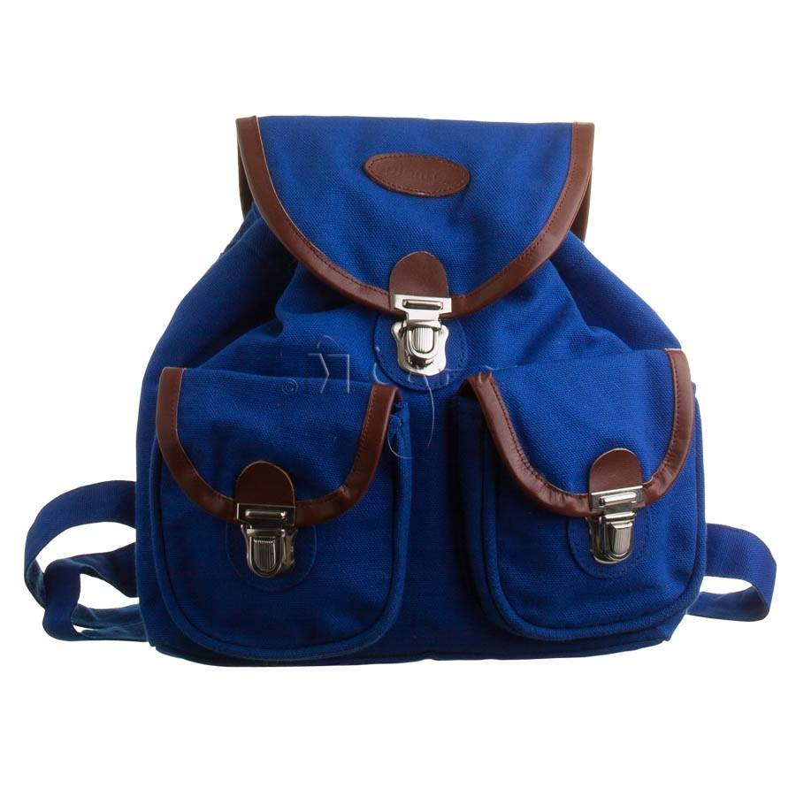 Canvas rucksack with leather piping
