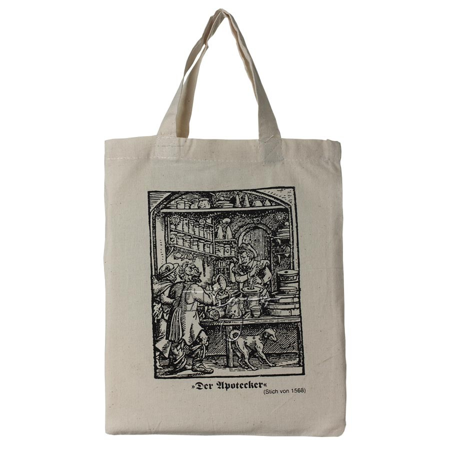 "Small cotton bag, short handles, with print ""The Apothecary"""