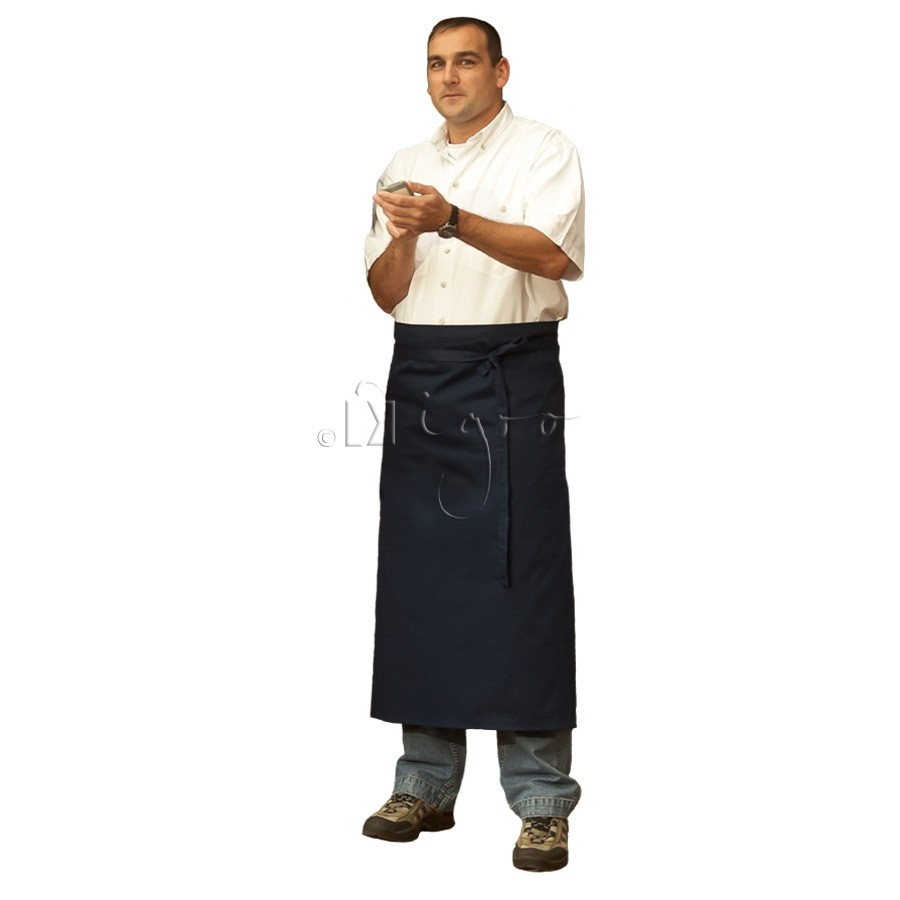Long easy-care apron in high quality blended cotton material