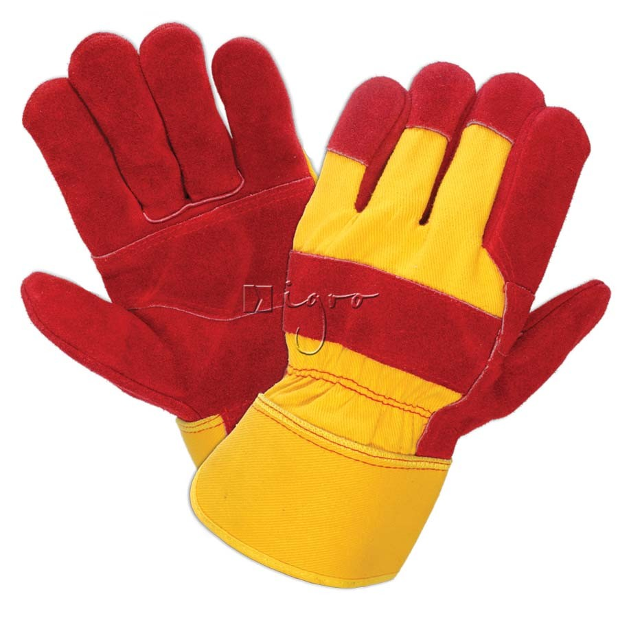 Red leather working gloves