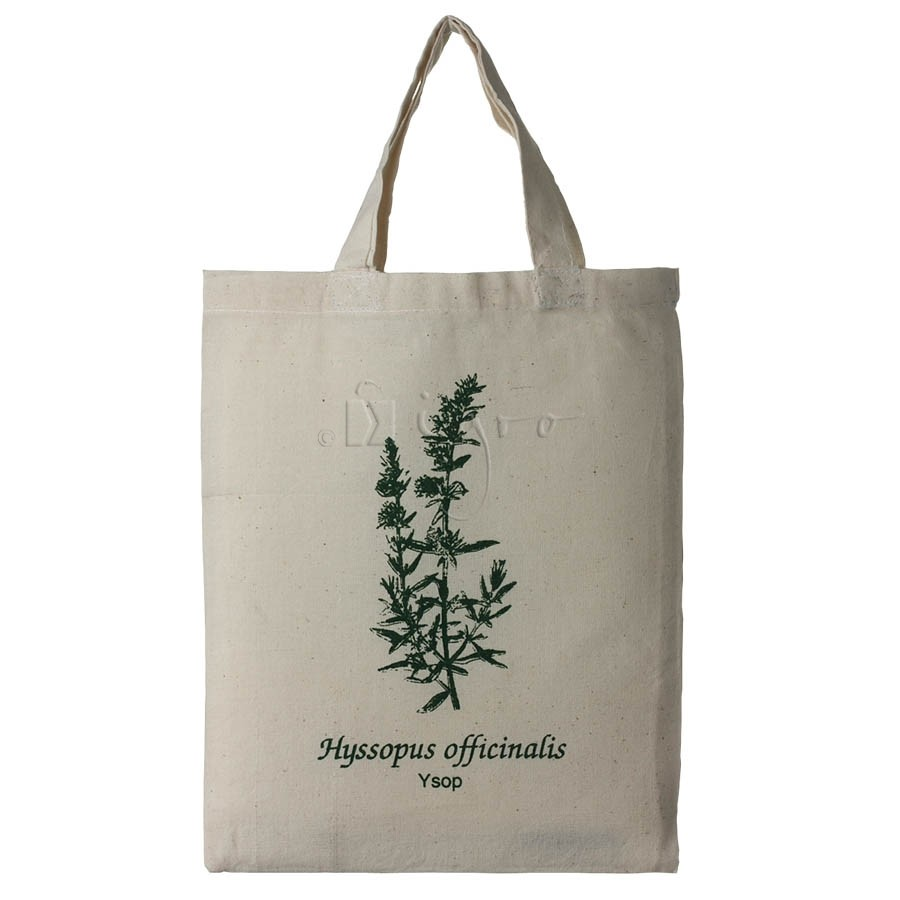 Small cotton tote with herbal design Ysop