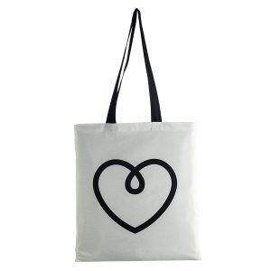 White promo tote with black customized logo print