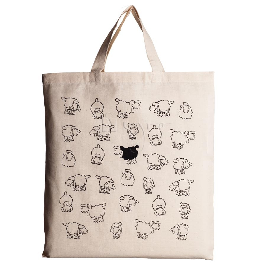 Large cotton tote with sheep design