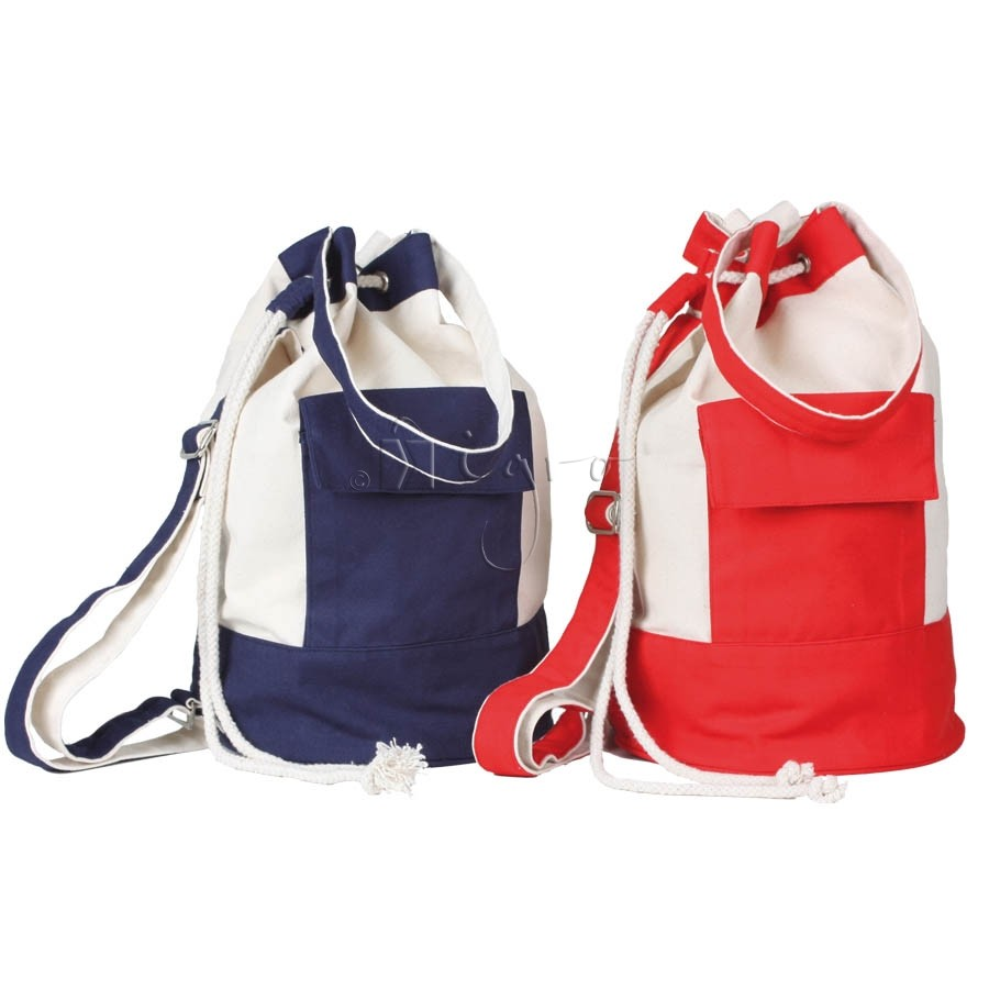 canvas rucksack or duffle bag with drawstring and shoulder straps
