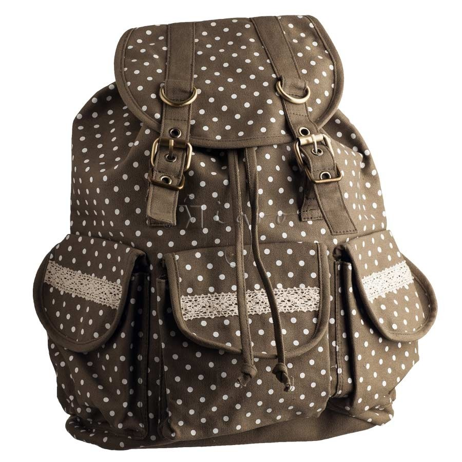 Cotton Rucksack with polka dot design and lace