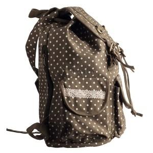 Baumwoll Rucksack mit Tupfenmuster und Spitzenbordüre