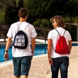 Rucksack mit Kordelzug und farbigen Ecken