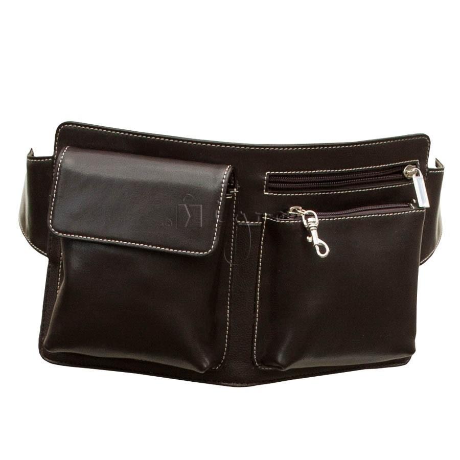 Leather belt bag with large pockets