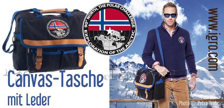 Sonderanfertigung: Leder-Canvas Tasche / Messenger Bag