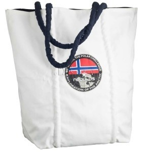 White Canvas beach bag with blue cords